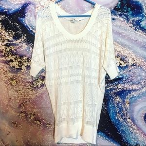 F21 offwhite cable knit tunic sweater top -Sz M